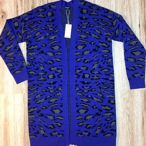Splendid Long Blue Leopard Open Jacquard Cardigan